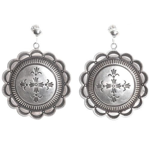 Old Pawn Navajo Silver Concho Earrings 40519