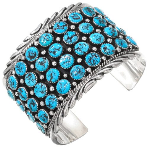 Navajo Turquoise Cluster Sterling Silver Cuff Bracelet 40528