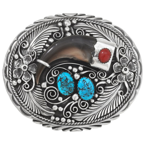 Sterling Silver Turquoise Coral Bear Claw Belt Buckle 40531