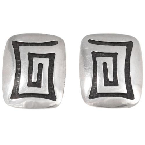 Vintage Hopi Silver Clip On Earrings 40542