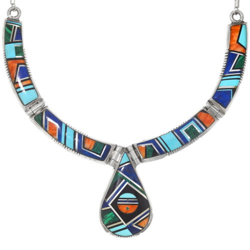 Vintage Turquoise Spiny Oyster Lapis Inlay Navajo Necklace 40551