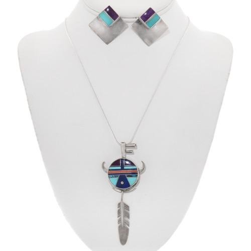 Turquoise Inlay Pendant Navajo Jewelry Set 40552