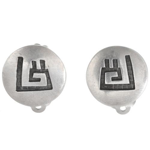 Vintage Hopi Sterling Silver Earrings 40566