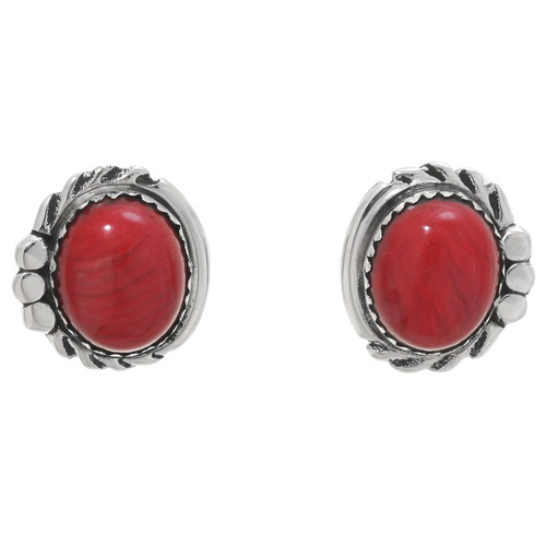 Navajo Red Coral Silver Earrings 40581