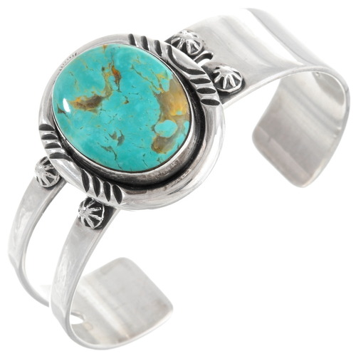 Genuine Turquoise Navajo Sterling Silver Cuff Bracelet 40597