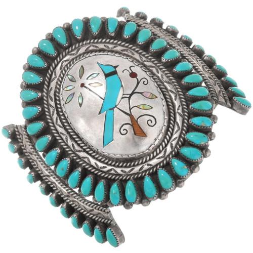 Turquoise Blue Jay Sterling Silver Zuni Bracelet 40599