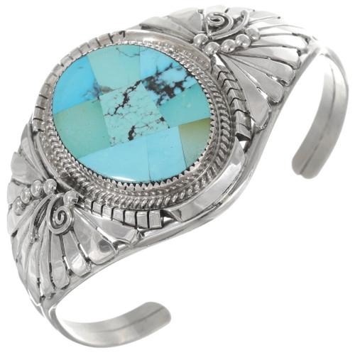 Mosaic Turquoise Sterling Silver Navajo Bracelet 40601