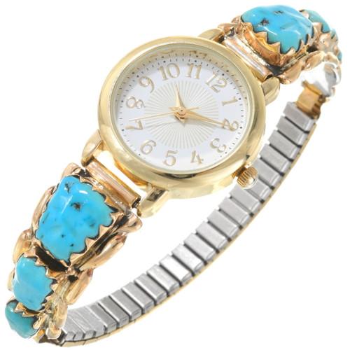 Vintage Turquoise Gold Ladies Zuni Watch 40623