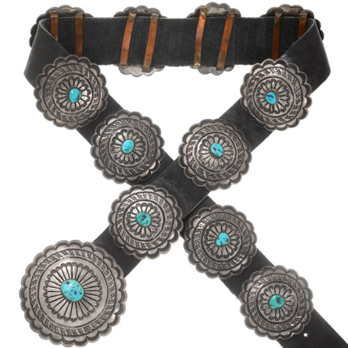 Old Pawn Turquoise Silver Concho Belt 40629