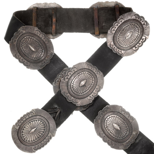 Native American Old Pawn Silver Concho Belt 40630