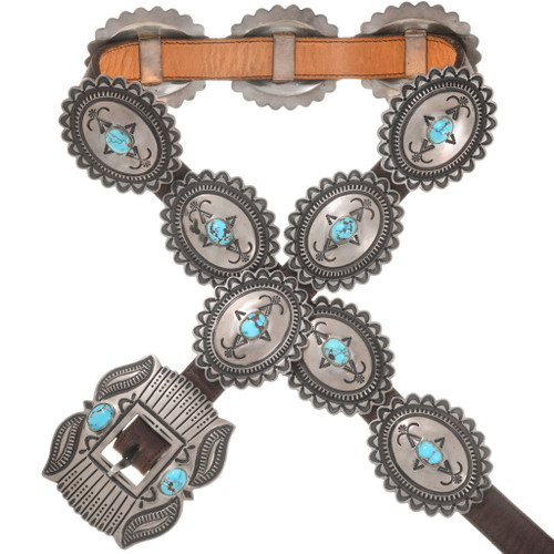 Vintage Turquoise Silver Concho Belt 40631
