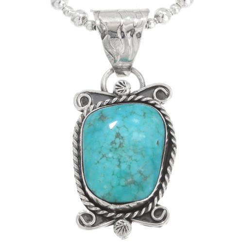 Ladies Turquoise Silver Navajo Pendant 40650