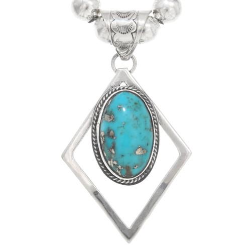Navajo Turquoise Silver Diamond Pendant  40656