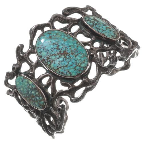 Vintage Turquoise Sandcast Navajo Cuff Bracelet 40664