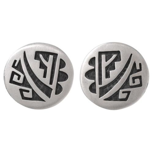 Vintage Sterling Silver Hopi Earrings 40675