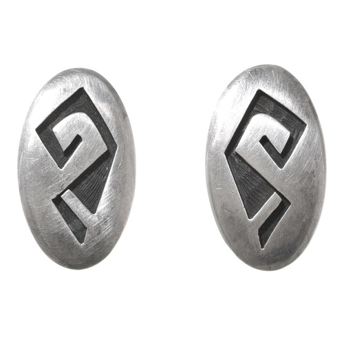 Vintage Hopi Overlay Silver Earrings 40681