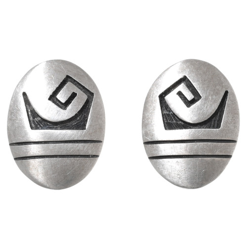 Old Pawn Sterling Silver Hopi Earrings 40682