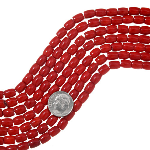 Red Coral Bead 6mm x 8mm 37185