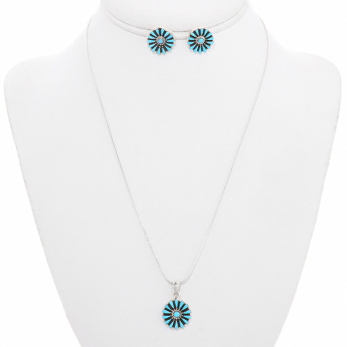 Sleeping Beauty Turquoise Sterling Silver Pendant Set 40693