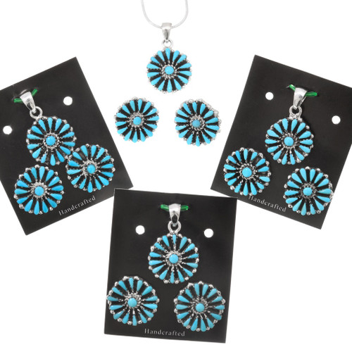 Turquoise Petit Point Matching Pendant and Earrings Set 40693