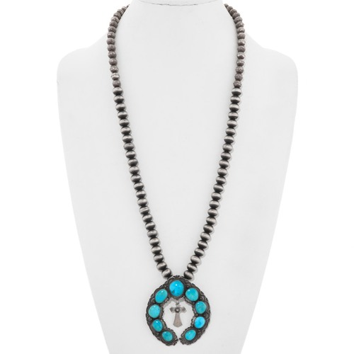 Navajo Turquoise Cross Naja Silver Bench Bead Necklace 40715