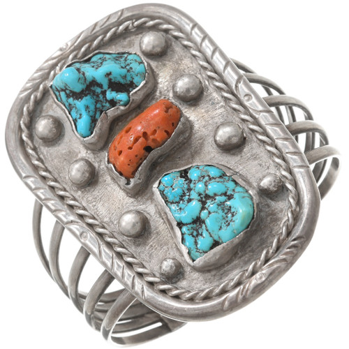 Old Pawn Turquoise Nugget Silver Native American Bracelet 40754