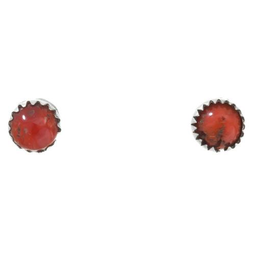 Navajo Coral Sterling Stud Earrings 40758