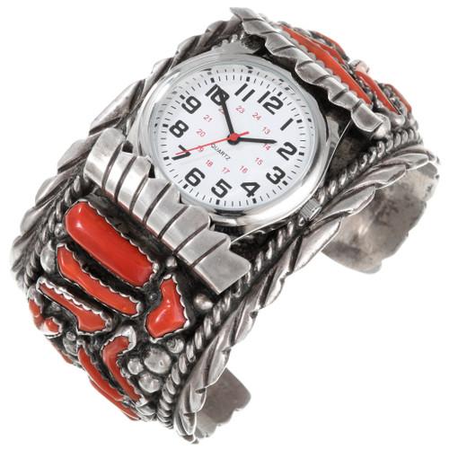 Vintage Navajo Mediterranean Coral Watch Bracelet 40803