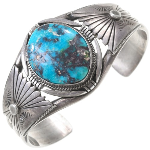 Vintage Turquoise Silver Navajo Cuff Bracelet 40827