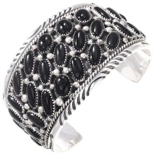 Vintage Black Onyx Sterling Silver Navajo Cuff Bracelet 40829