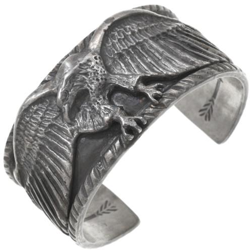 Navajo Sterling Silver Eagle Cuff Bracelet 40833