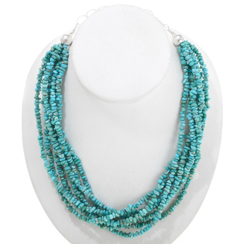 Natural Turquoise Seven Strand Nugget Necklace 40849