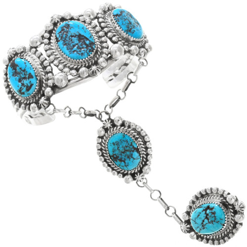Natural Turquoise Attached Navajo Bracelet Ring Set 35395