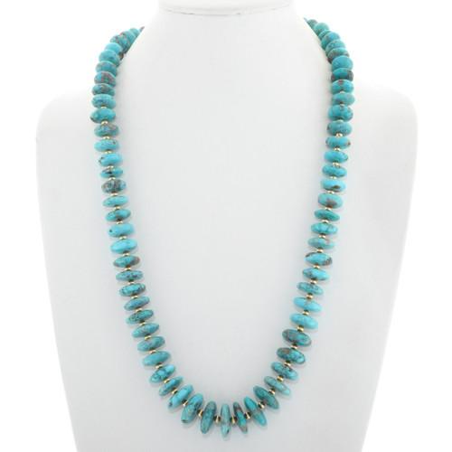 Natural Kingman Turquoise Gold Navajo Necklace 40883