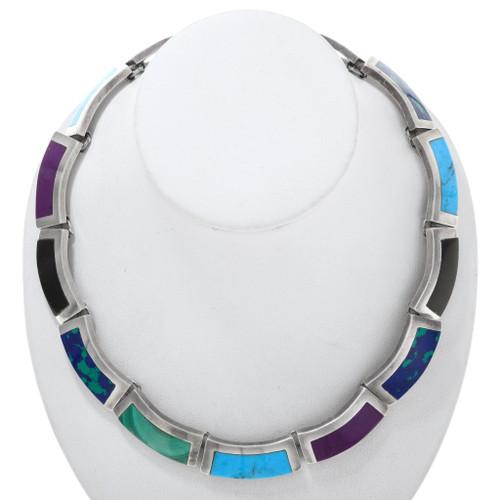 Vintage Inlaid Turquoise Gemstone Link Necklace 40890