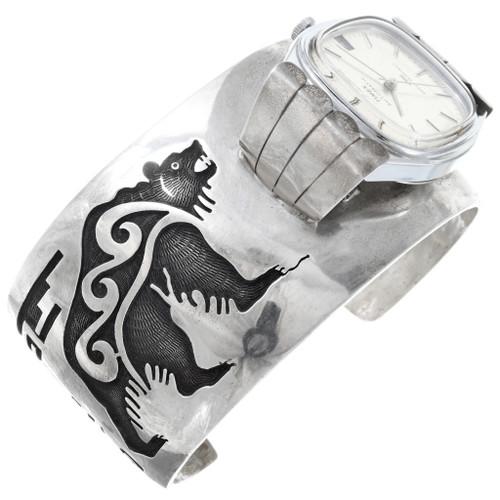 Old Pawn Hopi Silver Bear Mens Watch Cuff 40911