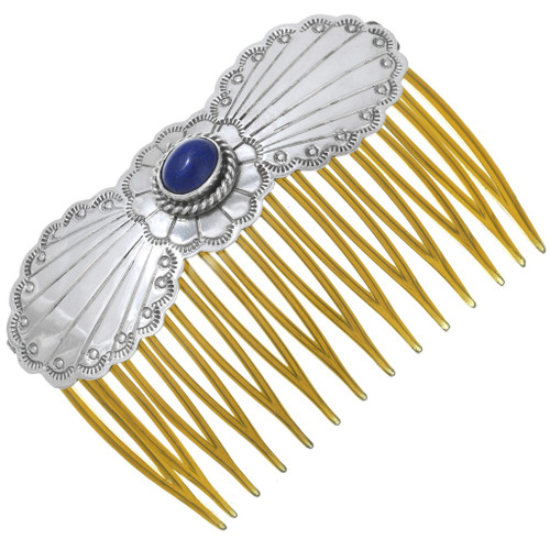Native American Lapis Sterling Silver Hair Barrette Comb 40932