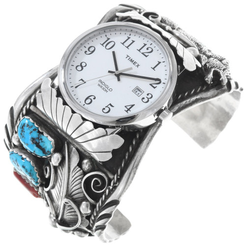 Vintage Navajo Turquoise Silver Wolf Watch Cuff 40161