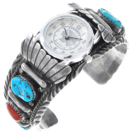 Old Pawn Turquoise Coral Silver Watch Bracelet 40945