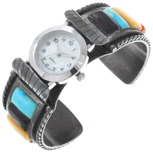 Old Pawn Navajo Inlay Silver Watch 40948