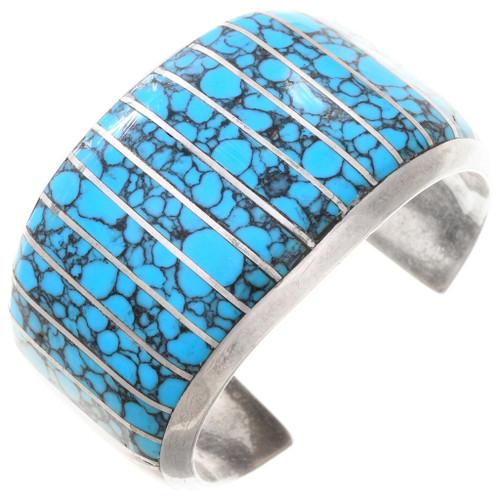 Spiderweb Turquoise Inlay Cuff Bracelet 40805