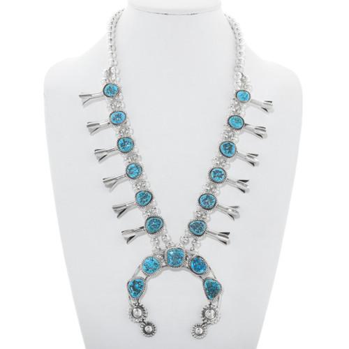 Blue Turquoise Squash Blossom Necklace 40994