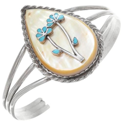 Vintage Zuni Turquoise Flower Bracelet 41060