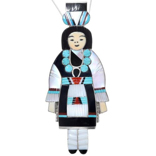 Vintage Zuni Olla Maiden Inlay Pendant 41112
