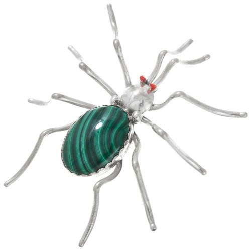 Vintage Navajo Malachite Coral Silver Spider Brooch Pin 41113