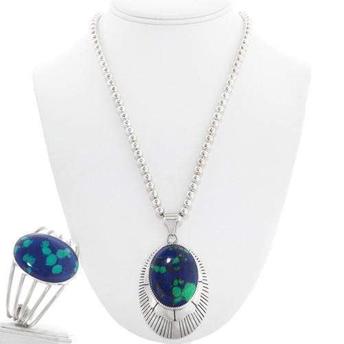 Vintage Navajo Azurite Silver Pendant Bracelet Set 41119