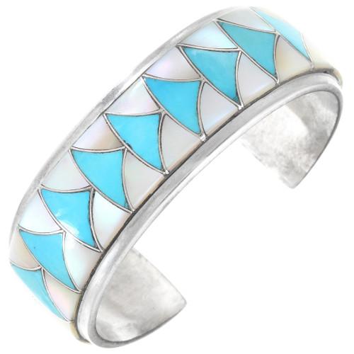 Native American Zuni Inlay Sterling Silver Cuff Bracelet 41120