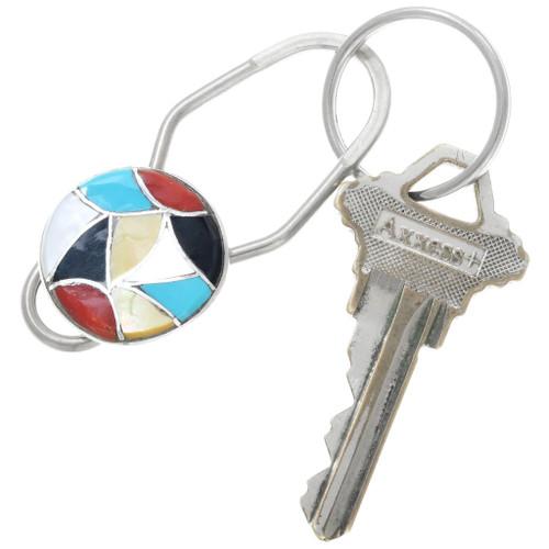 Gemstone Inlay Silver Native American Key Ring 41215