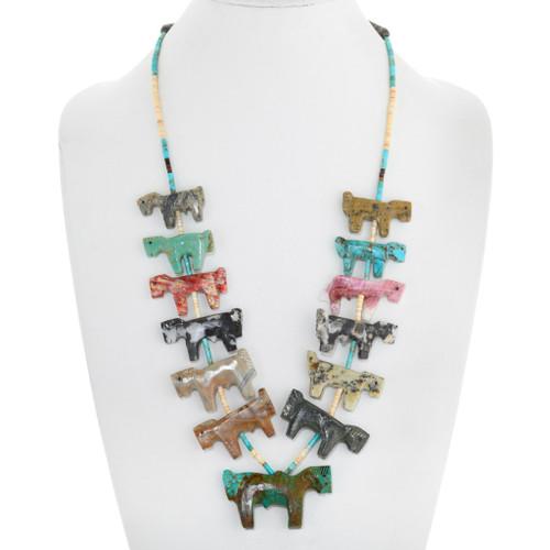 Old Pawn Zuni Horse Fetish Heishi Necklace 41285