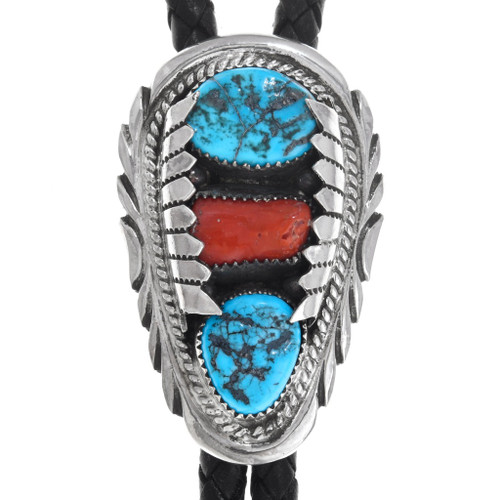 Natural Turquoise Coral Silver Bolo Tie 41309